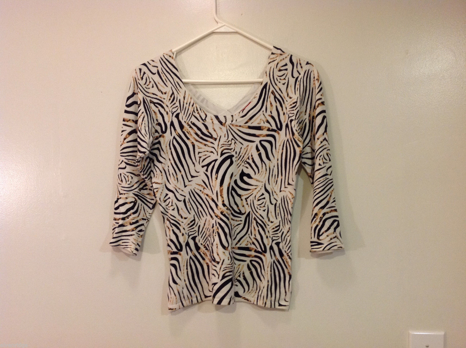 RED Zebra Animal Print Pullover Top White/Black/Brown, 3/4 sleeve, Size S
