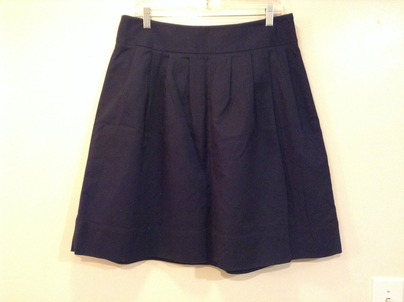 Rafaella Dark Blue Pleated Front Skirt Size 12 Side Zipper Closure