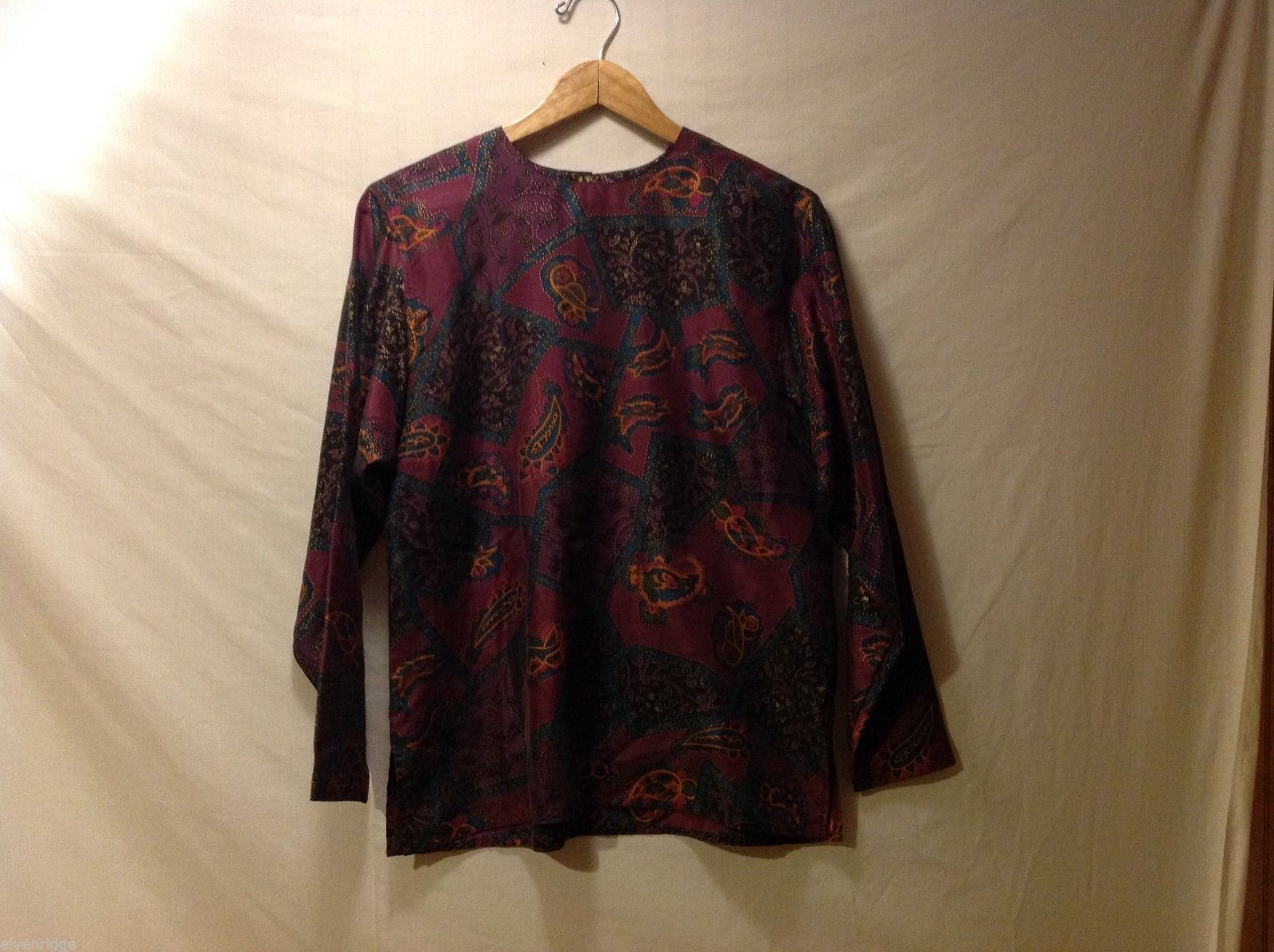 Rafaella Womans Paisley Silk Blouse, Size Small