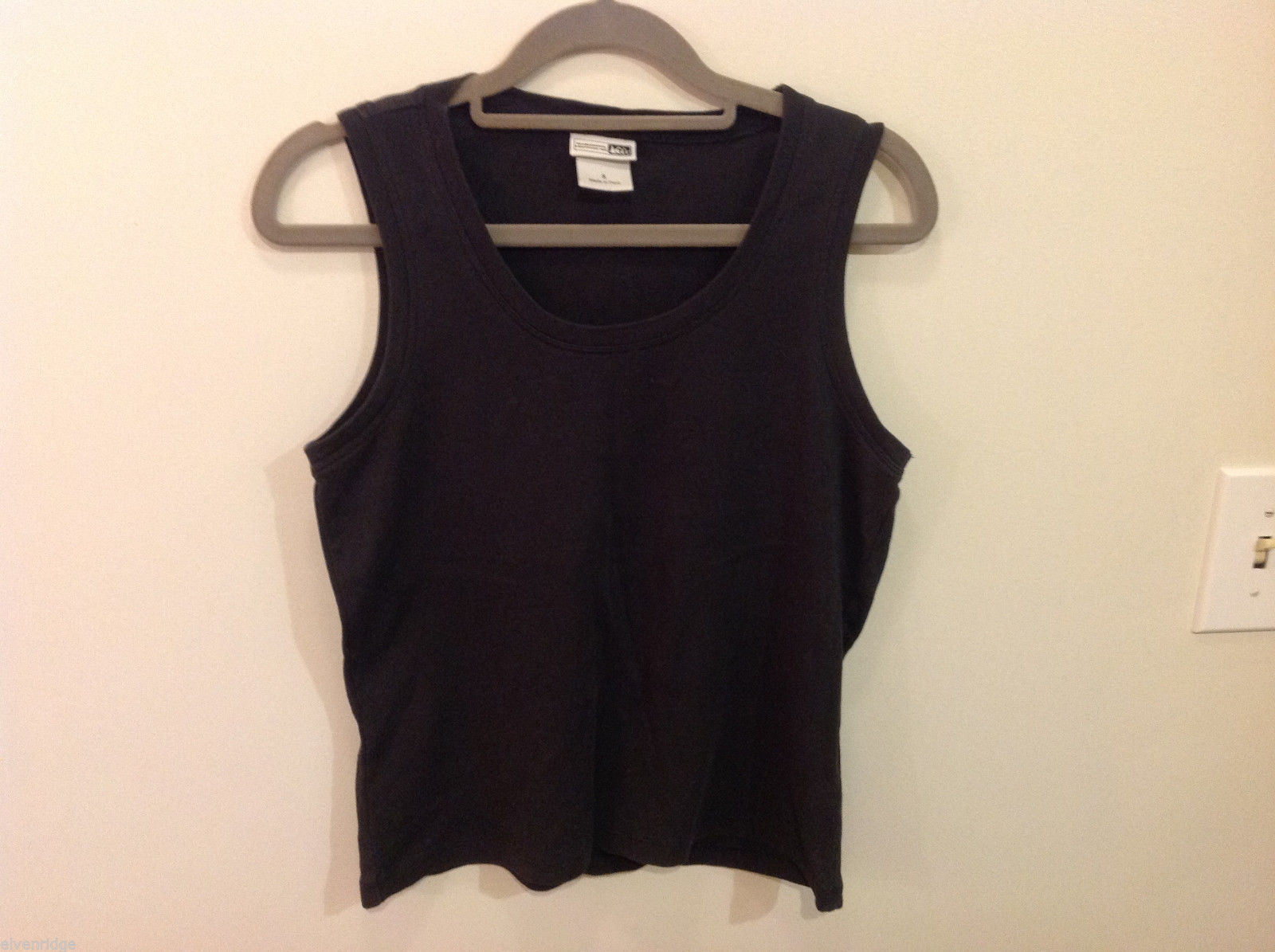 REI Womens Sleeveless Black Stretchable Cotton Tank Top Blouse, Size S