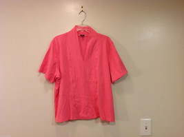 Rafaella Woman V-neck Pink 100% Cotton Short Sleeve T-shirt, Size 3X image 1