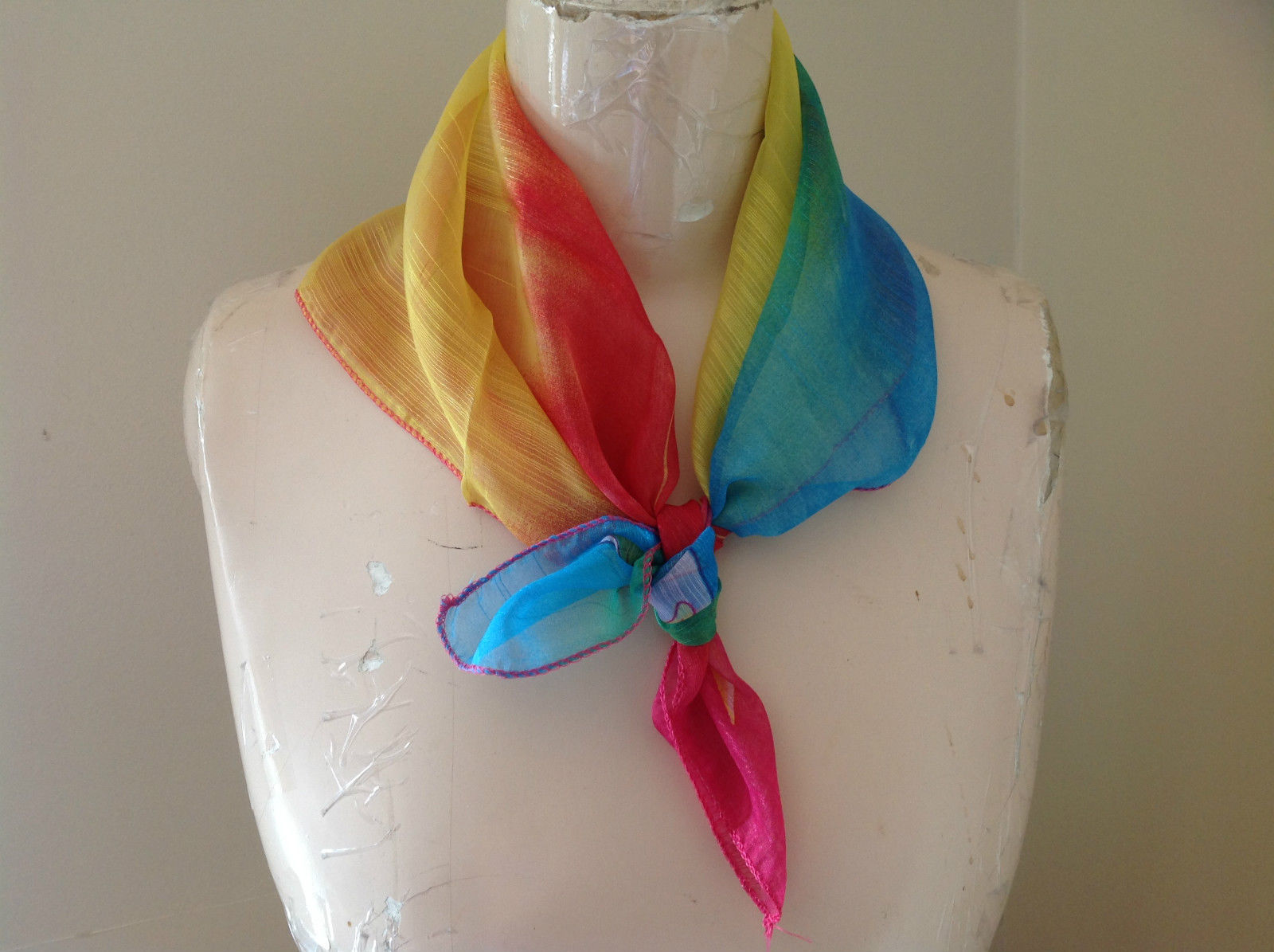 Rainbow Colors with Leaf Design Square Scarf  Hanfei Light Weight Material