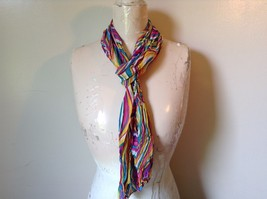 Rainbow Elastic Scarf Pink Blue Teal White Many Colors 10 Inches by 70 Inches
