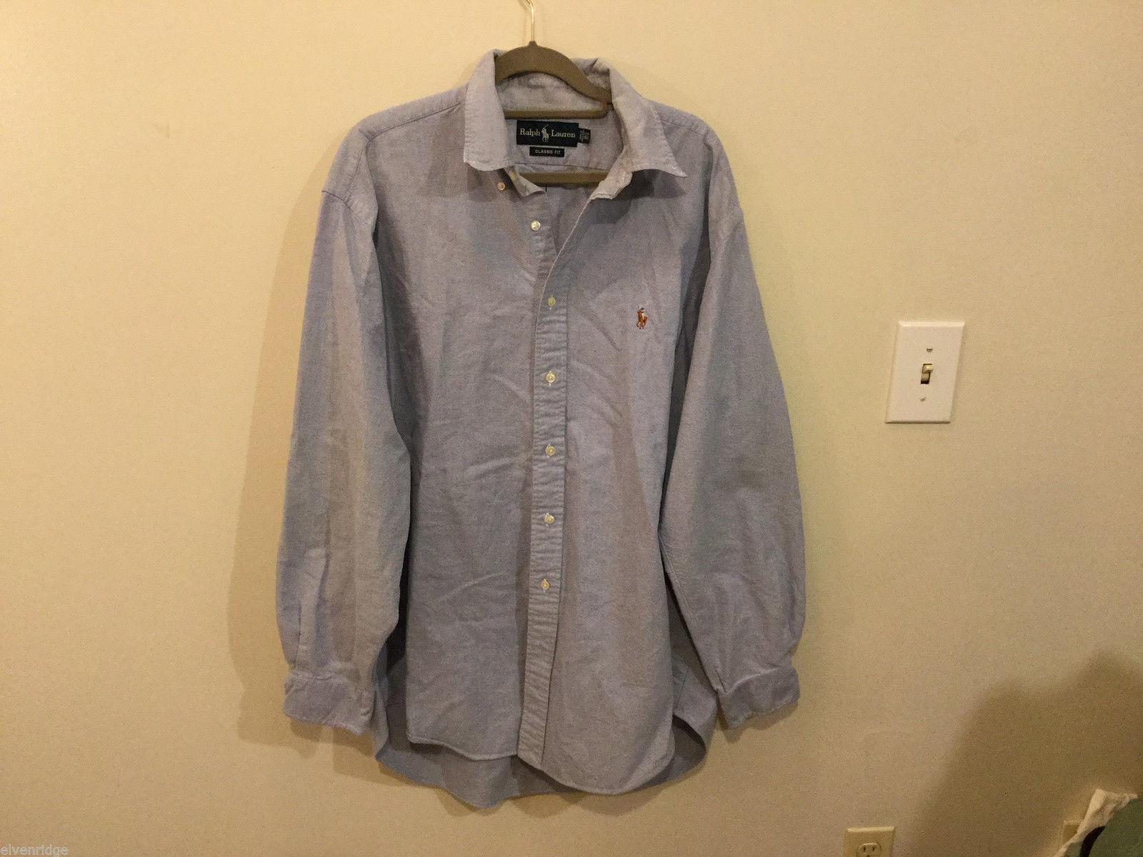 Ralph Lauren 100% Cotton Light Blue long sleeve Classic Fit Shirt, size 16-1/2