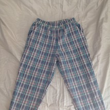 Lori of California Plaid Casual Pants White Blue Green Pink Elastic Waistband image 2