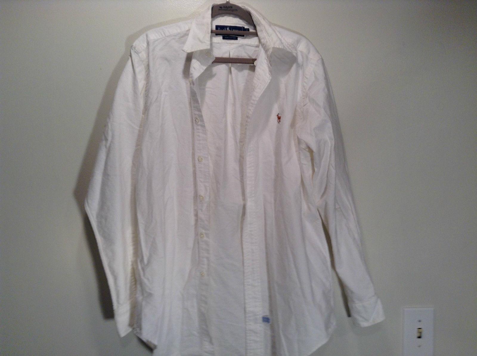 Ralph Lauren 100 Percent Cotton Long Sleeve White Dress Shirt Size 15 by 33
