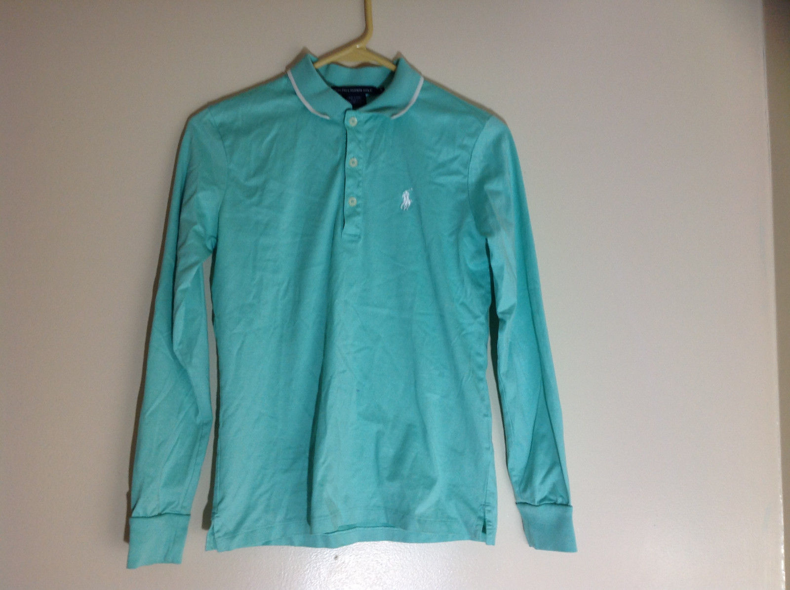 Ralph Lauren Golf Teal Mint Long Sleeve Polo Shirt Small Emblem on Chest Size S