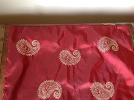 One Red Square Pillowcase with Swirly Gold Designs Paisley embroider image 4