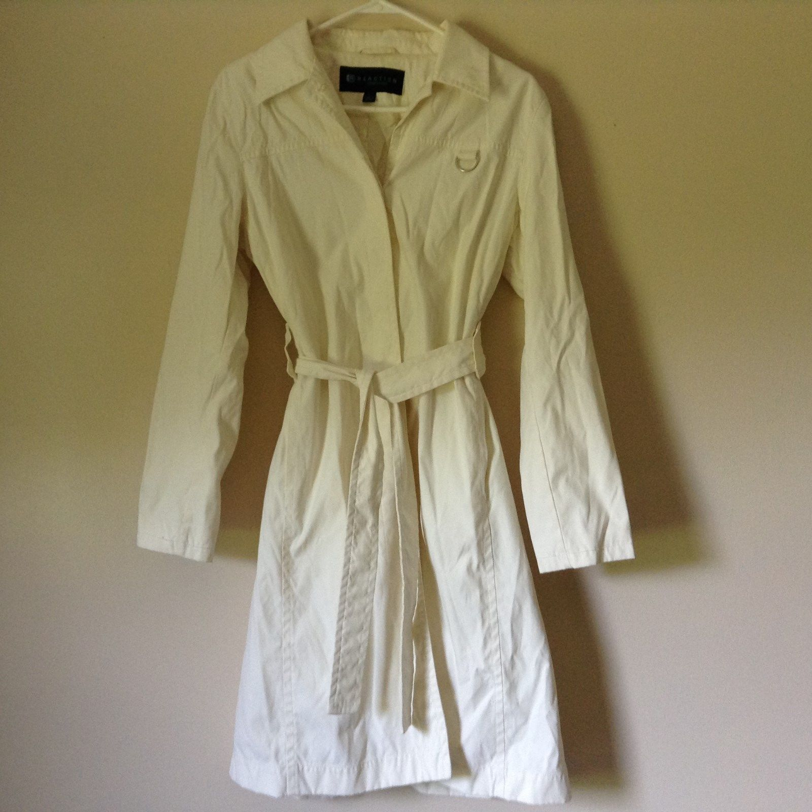 Reaction Kenneth Cole White Trench Coat Belt Buttons Shoulder Pads Size Large