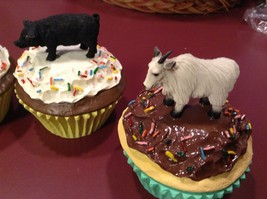 Animal cupcake trinket box seconds Deer buck porcupine black pig mountain goat image 6