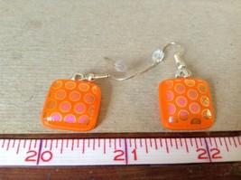 Orange Violet Polka Dot Pattern Square Shaped Glass Dangling Earrings image 5