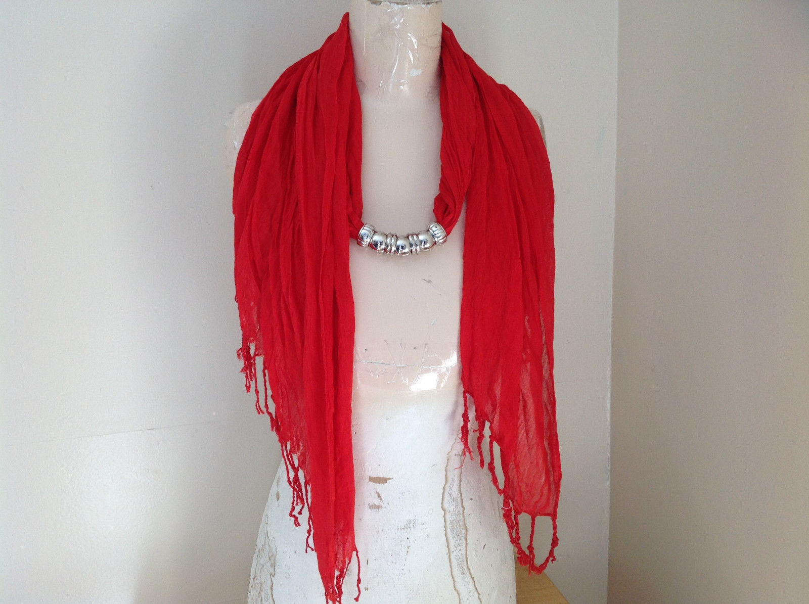 Red Beaded Fashion Scarf Scrunched Look Tassels on Ends Beads are Removable