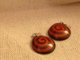 Orange batik pattern sustainable renewable Tagua earrings women's work Columbia image 2
