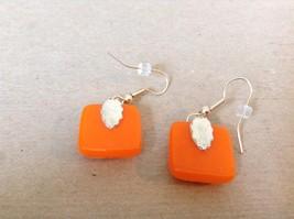 Orange Violet Polka Dot Pattern Square Shaped Glass Dangling Earrings image 4