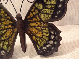 Orange green mosaic crackle glass standing sparkly butterfly reflects light image 4