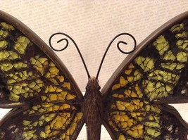 Orange green mosaic crackle glass standing sparkly butterfly reflects light image 5