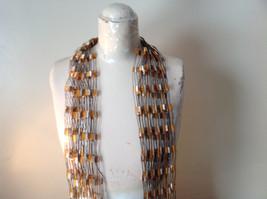 Orange and Brown Filigree Scarf Headband Belt Three in One image 3