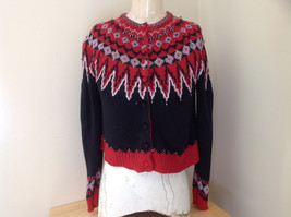 Red Black Bead Decorated Knit Sweater Made in China Lance Earesh Size Medium