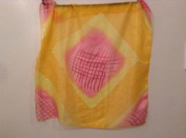 Orange Yellow and Pink Square Scarf 100 Percent Polyester image 3