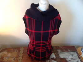 Red Black Sleeveless Wide Turtleneck Sweater Made in China Chaps Denim Size  M - $34.64