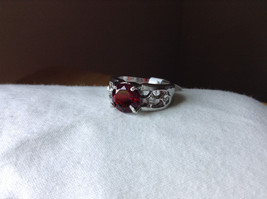 Red CZ Stone with Cutout Design Stainless Steel Ring Size 8.5