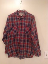 Red Blue Yellow Trails End Flannel Button Up Long Sleeve Shirt Pockets Size L
