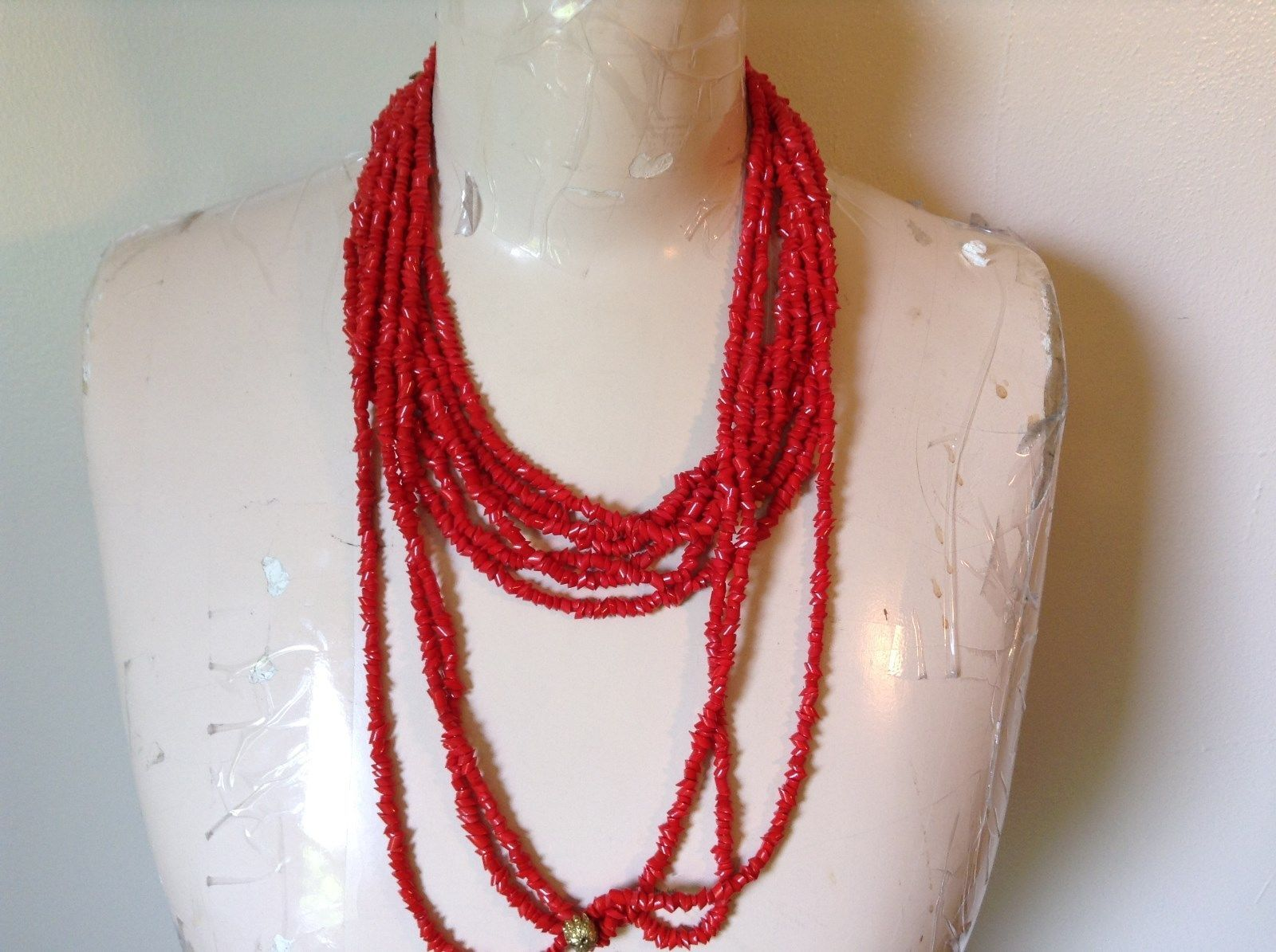 Red Coral Necklace with Two Lengths of Necklaces and Gold Clasps