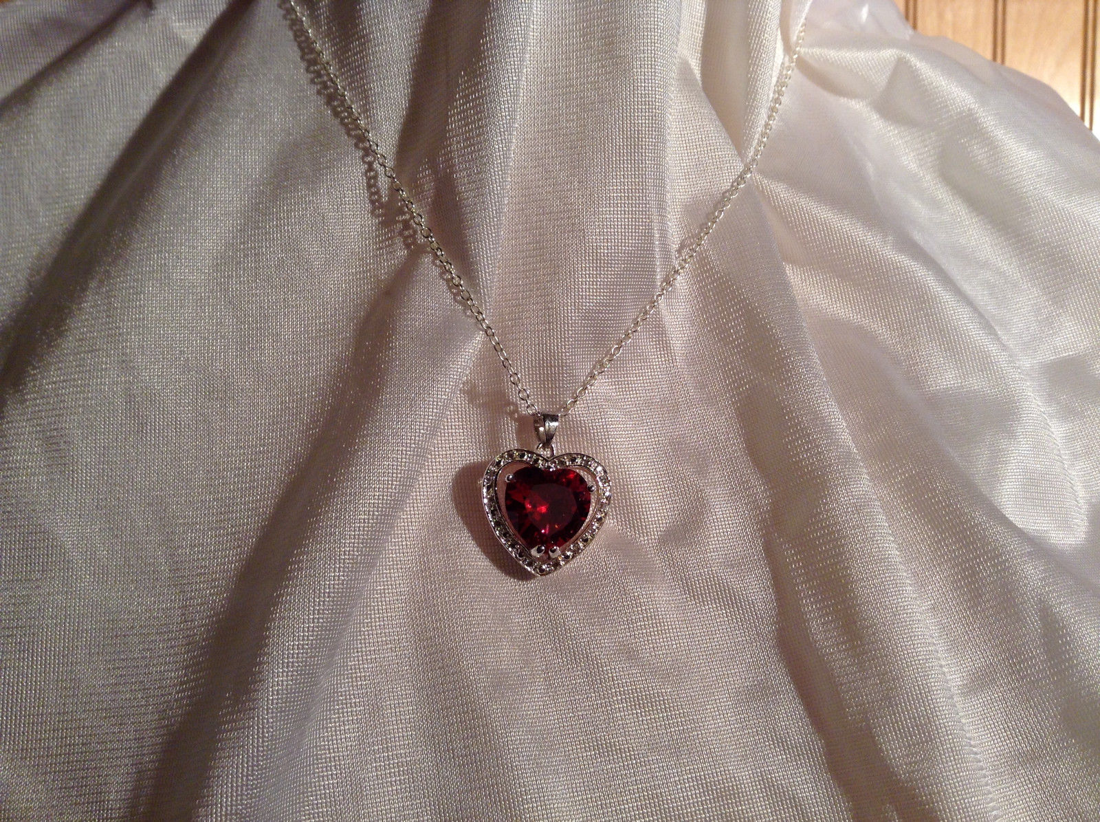 Red CZ Stone Heart with White Stone Accents Pendant Silver Necklace