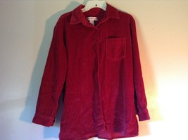 Red Corduroy Button Up Shirt with Buttoned Cuffs Cambridge Country Size Small