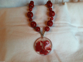 Red Cherry and Chocolate Swirl Beaded Necklace and Large Round Pendant