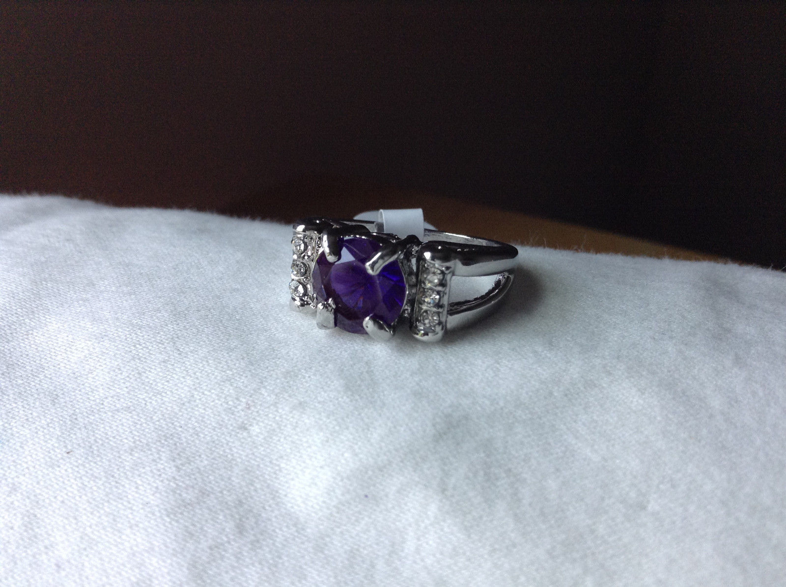 Purple CZ with White CZ Accents Stainless Steel Ring Size 8.5