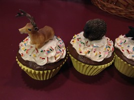 Animal cupcake trinket box seconds Deer buck porcupine black pig mountain goat image 7