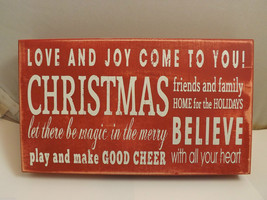 Red Wooden Box Sign Love and Joy Come to You! Holiday Christmas Decor image 1