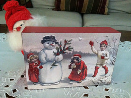 Red Wooden Box Christmas winter Sign of Vintage Snowman w playing  Kids
