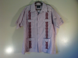Red White Striped 4 Front Pocket Button Down Short Sleeve Shirt Size XL Haband