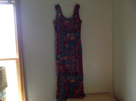 Red Teal Gold Brown Sleeveless Geometric Pattern Long Length Dress WNY Size 8