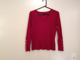 Red Stretchy V Neck Sweater Bandolino Snap Decorations on Sleeves No Size Tag