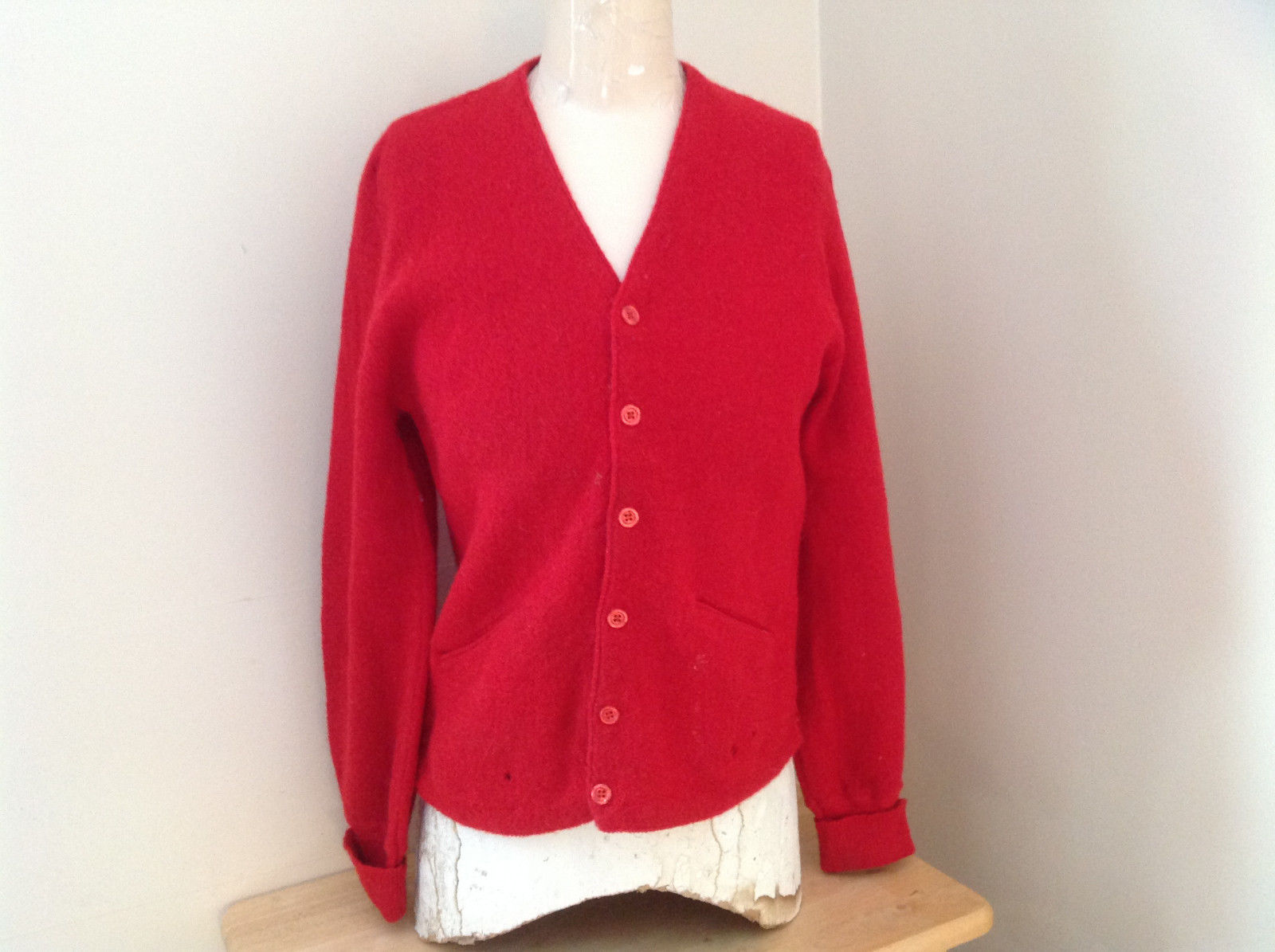 Red V Neckline Button Up Sweater Alpaca Cuffed Sleeves 2 Pockets Golden Arrow