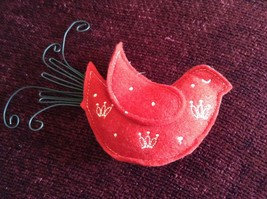 Red Dove Shaped Felt Ornament Black Metal Wires Representing Feathers