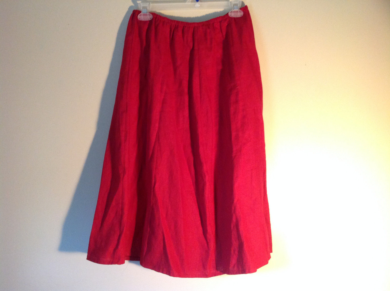 Red Elastic Waist Haldor A Line Style Skirt Made in USA Size M to L