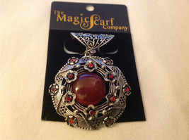 Red Crystals with Big Dark Red Stone Silver Tone Circular Shaped Scarf Pendant
