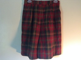 Red Green Brown Plaid 100 Percent Virgin Wool Pendleton Skirt Size 8