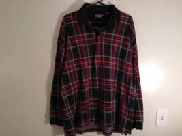 Red Green Black Blue Yellow Plaid Polo Shirt Roundtree and York Size XXL