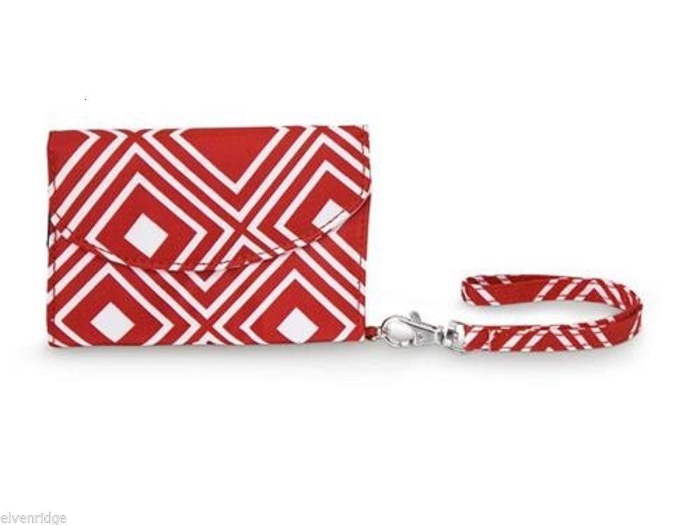 Red Geo Pattern Smart Phone Wristlet wallet