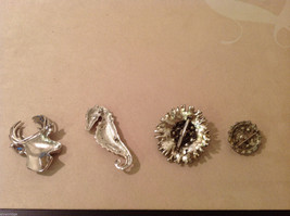 Lot of 4 different Costume Brooch Pins with crystals, assorted shapes and sizes image 4