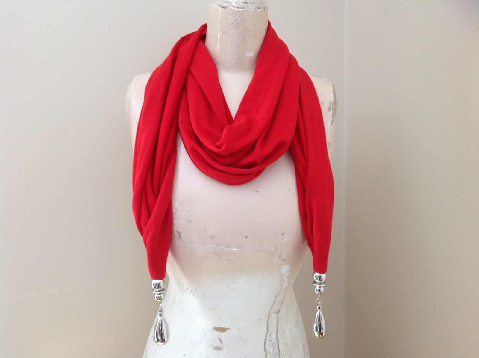 Red Metal Decorated as Tassels Fashion Scarf See Measurements Below