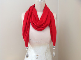 Red Metal Decorated as Tassels Fashion Scarf See Measurements Below image 1