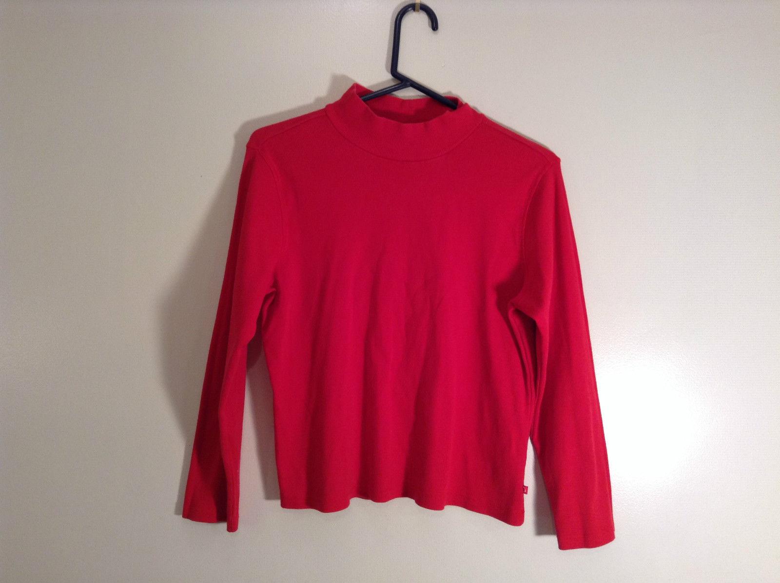 Red Mock Turtleneck Top Liz Claiborne Petite Size M Petite Long Sleeves