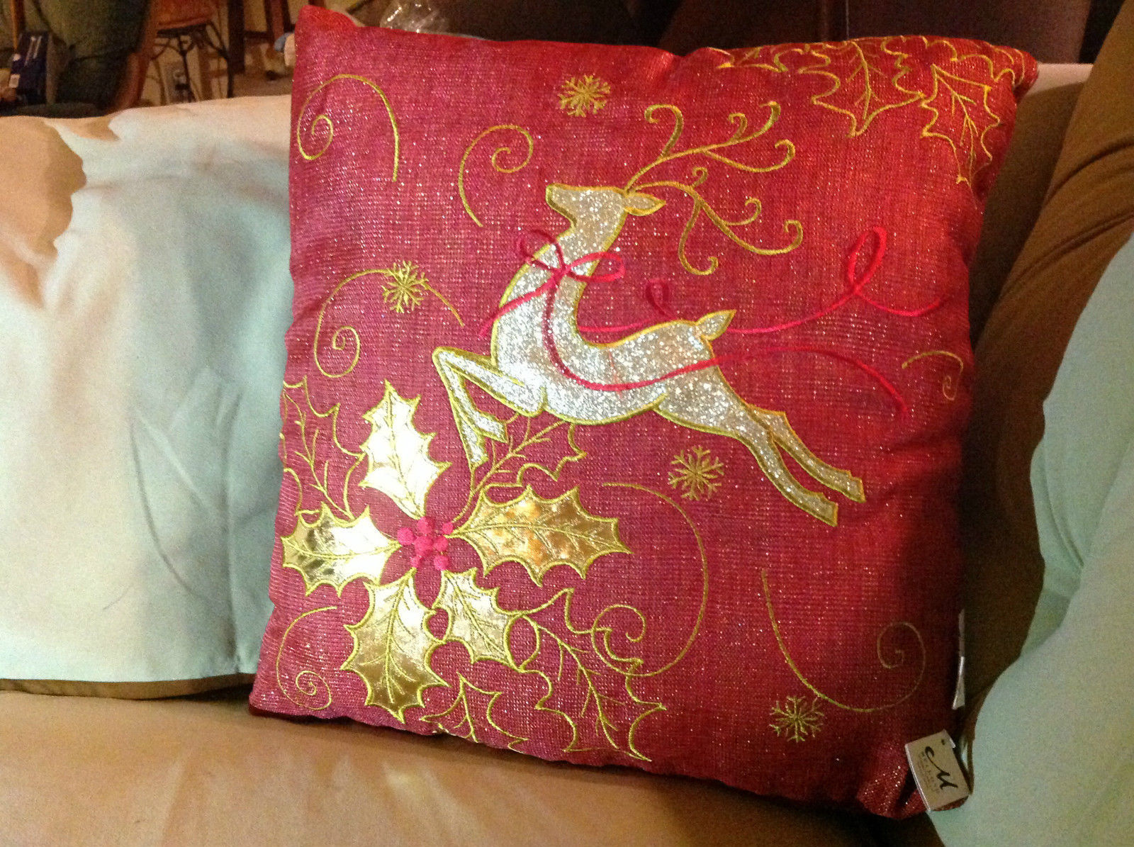 Red Holiday Decorative Sparkly Square Pillow w Reindeer Gold Colored Holly