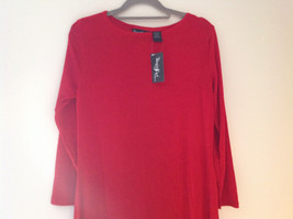 Red Long Sleeve Asymmetrical Bottom Shirt Stretchy Material Sizes S L XL and 2X